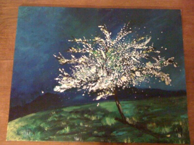 Cherryblossom painting in acrylic